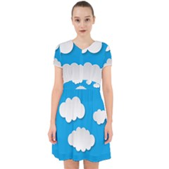 Clouds Sky Background Comic Adorable In Chiffon Dress