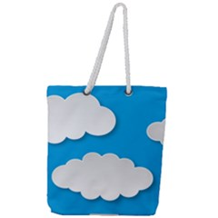 Clouds Sky Background Comic Full Print Rope Handle Tote (large)