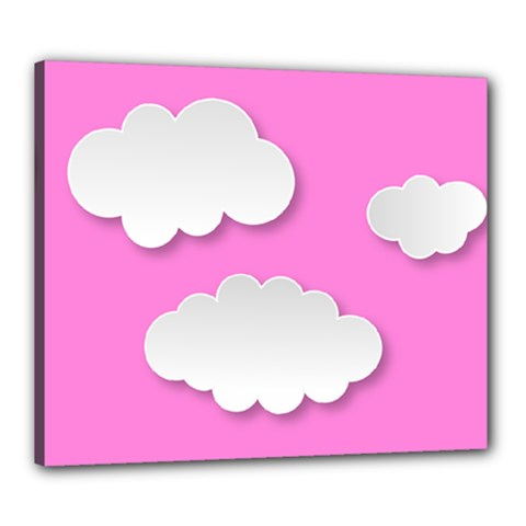 Clouds Sky Pink Comic Background Canvas 24  X 20