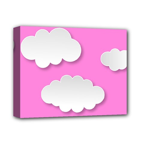 Clouds Sky Pink Comic Background Deluxe Canvas 14  X 11