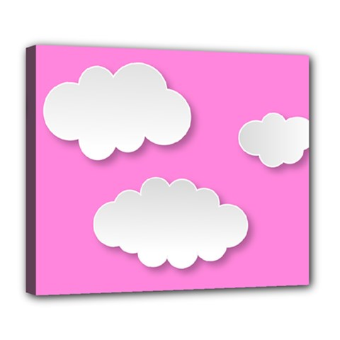 Clouds Sky Pink Comic Background Deluxe Canvas 24  X 20