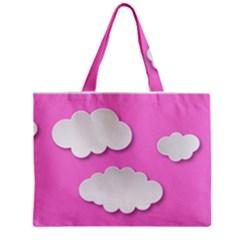 Clouds Sky Pink Comic Background Zipper Mini Tote Bag