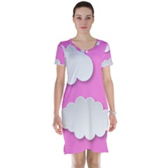 Clouds Sky Pink Comic Background Short Sleeve Nightdress