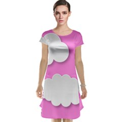 Clouds Sky Pink Comic Background Cap Sleeve Nightdress
