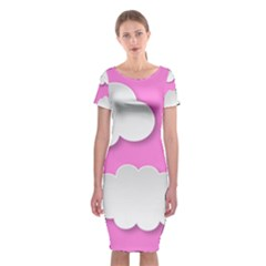 Clouds Sky Pink Comic Background Classic Short Sleeve Midi Dress