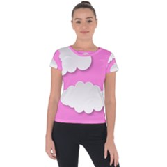 Clouds Sky Pink Comic Background Short Sleeve Sports Top