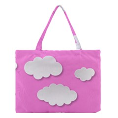 Clouds Sky Pink Comic Background Medium Tote Bag