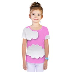 Clouds Sky Pink Comic Background Kids  One Piece Tee