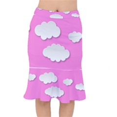 Clouds Sky Pink Comic Background Mermaid Skirt