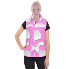 Clouds Sky Pink Comic Background Women s Button Up Puffer Vest