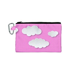 Clouds Sky Pink Comic Background Canvas Cosmetic Bag (small)
