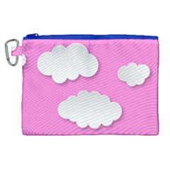 Clouds Sky Pink Comic Background Canvas Cosmetic Bag (xl)