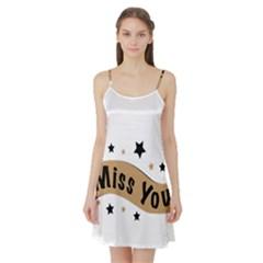 Lettering Miss You Banner Satin Night Slip