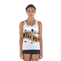 Lettering Miss You Banner Sport Tank Top