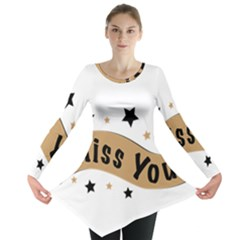 Lettering Miss You Banner Long Sleeve Tunic
