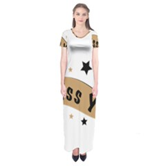 Lettering Miss You Banner Short Sleeve Maxi Dress