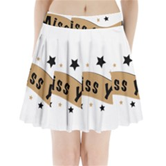 Lettering Miss You Banner Pleated Mini Skirt