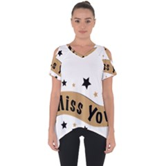 Lettering Miss You Banner Cut Out Side Drop Tee