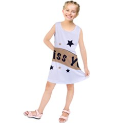 Lettering Miss You Banner Kids  Tunic Dress