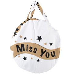 Lettering Miss You Banner Giant Round Zipper Tote