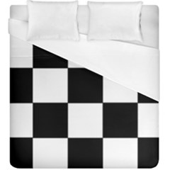 Grid Domino Bank And Black Duvet Cover (king Size)