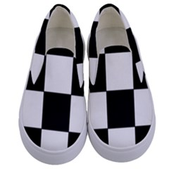 Grid Domino Bank And Black Kids  Canvas Slip Ons