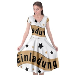 Einladung Lettering Invitation Banner Cap Sleeve Wrap Front Dress