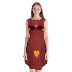 Heart Red Yellow Love Card Design Sleeveless Chiffon Dress