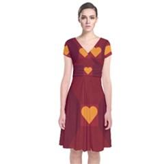 Heart Red Yellow Love Card Design Short Sleeve Front Wrap Dress