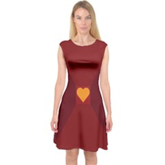 Heart Red Yellow Love Card Design Capsleeve Midi Dress