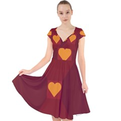 Heart Red Yellow Love Card Design Cap Sleeve Front Wrap Midi Dress