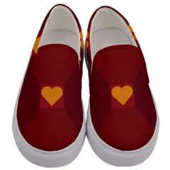 Heart Red Yellow Love Card Design Men s Canvas Slip Ons