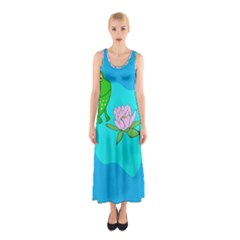 Frog Flower Lilypad Lily Pad Water Sleeveless Maxi Dress