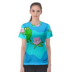 Frog Flower Lilypad Lily Pad Water Women s Sport Mesh Tee