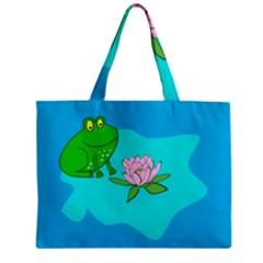 Frog Flower Lilypad Lily Pad Water Zipper Mini Tote Bag