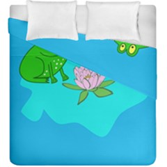 Frog Flower Lilypad Lily Pad Water Duvet Cover Double Side (king Size)