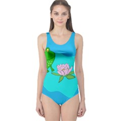 Frog Flower Lilypad Lily Pad Water One Piece Swimsuit