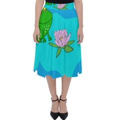 Frog Flower Lilypad Lily Pad Water Folding Skater Skirt
