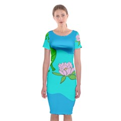 Frog Flower Lilypad Lily Pad Water Classic Short Sleeve Midi Dress