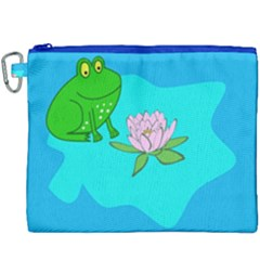 Frog Flower Lilypad Lily Pad Water Canvas Cosmetic Bag (xxxl)
