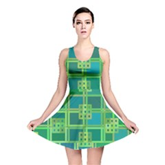 Green Abstract Geometric Reversible Skater Dress