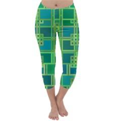 Green Abstract Geometric Capri Winter Leggings