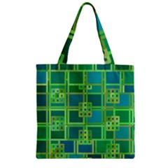 Green Abstract Geometric Zipper Grocery Tote Bag