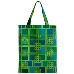 Green Abstract Geometric Zipper Classic Tote Bag