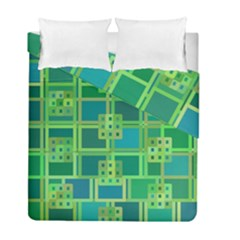 Green Abstract Geometric Duvet Cover Double Side (full/ Double Size)