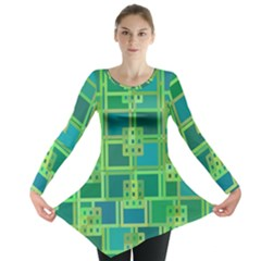 Green Abstract Geometric Long Sleeve Tunic