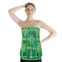 Green Abstract Geometric Strapless Top