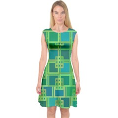 Green Abstract Geometric Capsleeve Midi Dress
