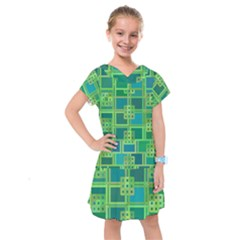 Green Abstract Geometric Kids  Drop Waist Dress