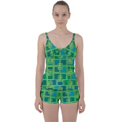 Green Abstract Geometric Tie Front Two Piece Tankini